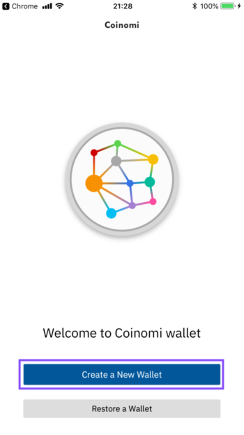 coinomi create a new wallet